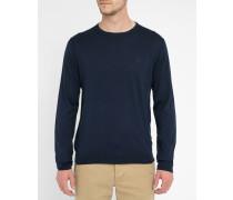 Feiner Pullover aus Baumwolle und Seide in Marineblau