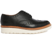Schwarze Richelieu-Schuhe mit Rosette und weißer Sohle Archie V