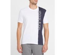 Weißes T-Shirt mit Rundhalsausschnitt und grauem AJ-Logo
