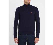 Zweifarbiger Pullover in Marineblau und Camelbraun mit Stehkragen, Reißverschluss und Brustlogo