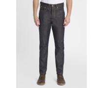 Ausgewaschen dunkelblaue Loose-Jeans Tapered ED-45