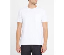 Weißes T-Shirt mit Rundhalsausschnitt und Brusttasche aus Flammé Marvin