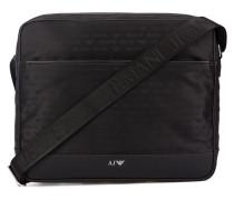 Schwarze Messengertasche aus Nylon mit Reißverschluss auf Vorderseite und All-Over-AJ-Logo