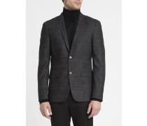 Schwarz melierte Jacke aus Woll-Tweed