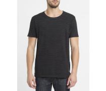 Schwarzes gestreiftes T-Shirt mit Dyed-Effekt 1828