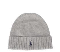 Mütze aus Merinowolle in Grau