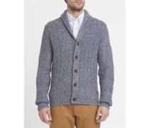 Marineblau melierter Pullover mit Zopfmuster und Schalkragen