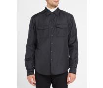 Marineblaues Oberhemd mit Druckknöpfen