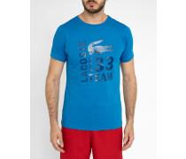Blaues Kurzarm-T-Shirt mit Print Pr