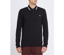 Langärmeliges Slim-Fit-Poloshirt Classic in Schwarz und Ecru