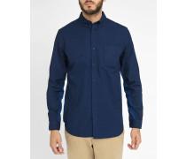 Blaues Denim-Hemd mit blauem eingesetztem Streifen