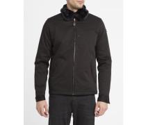 Schwarze Evans-Jacke aus Baumwolle mit abnehmbarem, gefüttertem Kragen