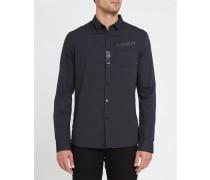 Schwarzes Slimfit-Hemd mit kleinem Kragen und heißklebenden Streifen Mikro Tupfen