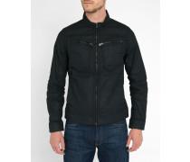 Schwarze gewachste Jeansjacke mit Reißverschlüssen an den Taschen Arc Zip 3D
