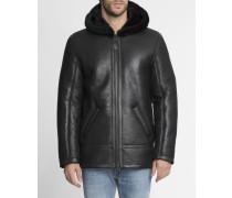 Manteau Hooded Peau Lainée Noir x Menlook