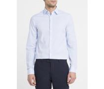Popeline-Hemd mit Motiven in Weiß und Himmelblau