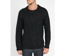 Grobmaschiger Pullover Mof mit Reißverschluss an der Schulter in Schwarz meliert