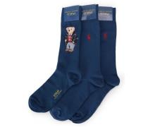 Dreierpack blaue Socken Teddy Bear