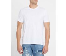 Weißes T-Shirt mit Rundhalsausschnitt und All-Over-AJ-Logo