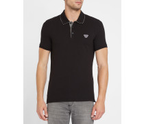 Schwarzes Slim-Fit-Poloshirt Innenkragen Armani-Logo