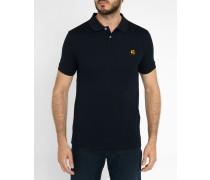 Marineblaues Classic-Polohemd aus mercerisiertem Baumwoll-Piqué