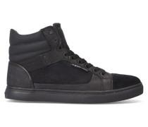 Einfarbig schwarze hohe Veloursleder-Sneaker New Augur aus zwei Materialien