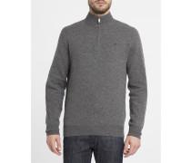 Grauer Pullover mit halben Reißverschluss, -Logo und Kontrastellenbogen