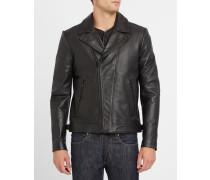 Schwarze Lederjacke mit Reißverschluss