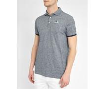 Grau meliertes Poloshirt Pocket