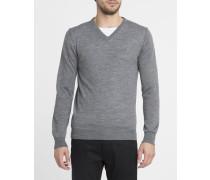 Graumelierter Pullover mit V-Ausschnitt Knut aus Wollgemisch