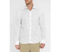 Weißes Slim-Hemd aus texturierter Popeline mit italienischem Kragen, himmelblauen Knöpfen und Ellenbogeneinsatz