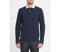 Langärmeliges marineblaues Poloshirt mit gemustertem Ellenbogeneinsatz