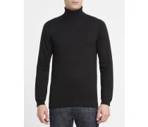 Schwarzer Pullover mit Rollkragen aus Baumwolle 6423