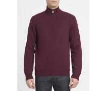 Bordeauxroter Pullover mit halben Reißverschluss, -Logo und Kontrastellenbogen