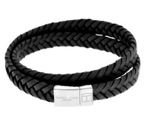 Doppel-Armband Slide Cobra aus Silber und schwarzem Leder 39cm