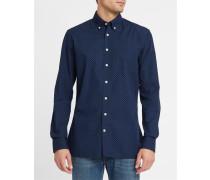 Marineblaues Slim-Hemd mit Knopf-Mikromuster und Kragen
