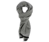 Schwarz-weißer Wollschal Trani mit Sparrenmuster
