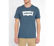 Blau meliertes T-Shirt mit Logo