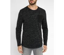 Schwarz melierter Pullover mit Rundhalsausschnitt Xauri Pocket