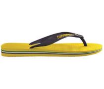 Yellow Brazil Logo Flip-Flops