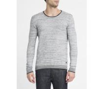 Pullover mit doppeltem Kragen in Grau meliert