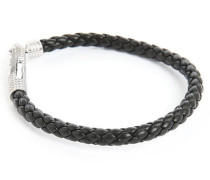 Armband Ziggy aus Silber und schwarzem italienischen Leder 19 cm