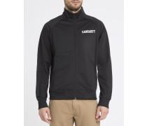 Schwarze Jacke mit Raglanärmeln und College-Aufdruck auf Brusthöhe