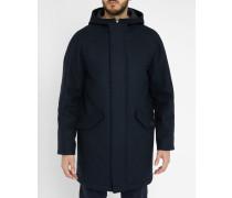 Marineblauer Raglanmantel Hooded aus Baumwolle und Wolle