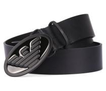 Schwarzer Ledergürtel AJ mit schwarzer Schnalle