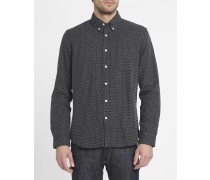 Hemd mit Mikromotiv Button Down Standard in Schwarz