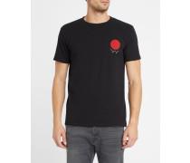 Schwarzes T-Shirt mit Rundhalsausschnitt und rotem Logo Marvin
