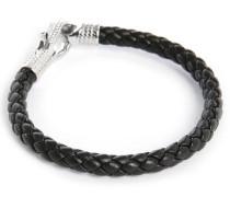 Armband aus schwarzem Leder Ziggy, 18 cm