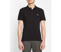 Kurzärmeliges Slim Cut-Poloshirt mit kleinem Pikee, schwarz