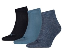 Einfarbige Quarter-Socken 3er Pack
